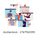 christmas online party. people... | Shutterstock .eps vector #1767962390