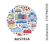 doodle colored austria icons... | Shutterstock .eps vector #1767984533
