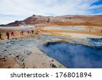 hot mud pots and blue lake in... | Shutterstock . vector #176801894