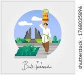 flat vector of balinese woman... | Shutterstock .eps vector #1768035896