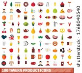 100 tavern product icons set in ... | Shutterstock .eps vector #1768040540