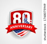 anniversary eighty sign with... | Shutterstock .eps vector #1768075949