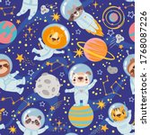 animals in space. seamless... | Shutterstock .eps vector #1768087226