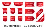 red ribbon labels. shopping... | Shutterstock .eps vector #1768087259
