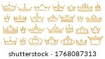 gold sketch crowns  hand drown... | Shutterstock .eps vector #1768087313