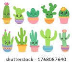 Cartoon Cactus. Cute Succulent...