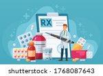 rx medical prescription. doctor ... | Shutterstock .eps vector #1768087643