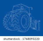 electric farm tractor charging... | Shutterstock .eps vector #1768093220