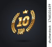 top 10 award emblem. golden... | Shutterstock .eps vector #1768101659