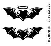 heart with bat wings angelic... | Shutterstock .eps vector #1768118213