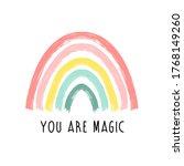 hand drawing rainbow... | Shutterstock .eps vector #1768149260
