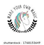 hand drawing unicorn... | Shutterstock .eps vector #1768153649