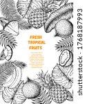 pineapples  banana  coconut and ... | Shutterstock .eps vector #1768187993