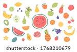 doodle hand drawn fruits set.... | Shutterstock .eps vector #1768210679