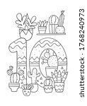 coloring page   numbers. ... | Shutterstock .eps vector #1768240973