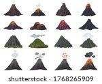 volcano icons set. cartoon set... | Shutterstock .eps vector #1768265909