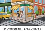 street of a city with cartoon... | Shutterstock .eps vector #1768298756