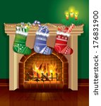 christmas fireplace with gifts  ... | Shutterstock .eps vector #176831900