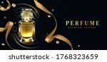 perfume bottle with gold... | Shutterstock .eps vector #1768323659