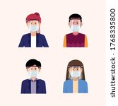 people using face shield and... | Shutterstock .eps vector #1768335800