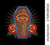 flash tattoo coffin  vector eps ... | Shutterstock .eps vector #1768428026