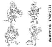 line art coloring leprechaun... | Shutterstock . vector #176843753