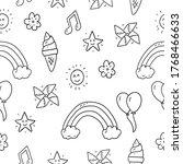 miscellaneous doodle pattern...   Shutterstock .eps vector #1768466633