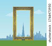 dubai frame landmark skyline... | Shutterstock .eps vector #1768473950