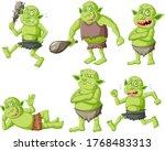 Set Of Green Goblin Or Troll In ...