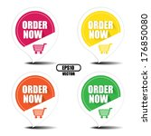 Order now with shopping cart colorful stickers and labels set - Vector illustration, EPS10