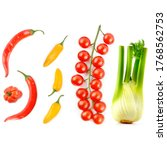cherry tomatoes  chili peppers... | Shutterstock . vector #1768562753