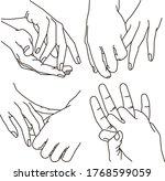 vector set   linear sketches of ... | Shutterstock .eps vector #1768599059