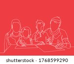 a family  silhouette in one... | Shutterstock .eps vector #1768599290