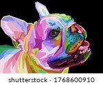 French Bulldog On Geometric Pop ...