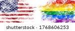 American Flag And Rainbow Flag...