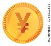 japanese yen coin icon. cartoon ...