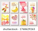Set Of Flyer With Fresh Fruits...