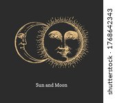 sun and moon  hand drawn in... | Shutterstock .eps vector #1768642343