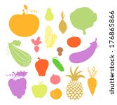 colorful fruit and vegetables... | Shutterstock .eps vector #176865866