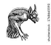 stone gargoyle  gothic element... | Shutterstock .eps vector #1768665593