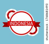 indonesia banner badge with red ... | Shutterstock .eps vector #1768681493
