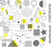 memphis geometric pattern on a... | Shutterstock . vector #1768724156