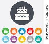 birthday cake sign icon. cake... | Shutterstock .eps vector #176873849