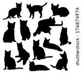 cats silhouette | Shutterstock .eps vector #176874974