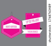 hot offer label design.up to 70 ... | Shutterstock .eps vector #1768763489