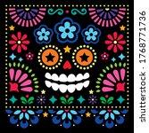 mexican folk art vector folk... | Shutterstock .eps vector #1768771736