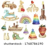 Watercolor Kids Toys Clipart....