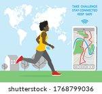 afro american running woman...   Shutterstock .eps vector #1768799036