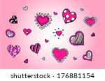 doodle hearts illustration | Shutterstock .eps vector #176881154