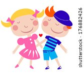 two cute characters  isolated... | Shutterstock .eps vector #176882426